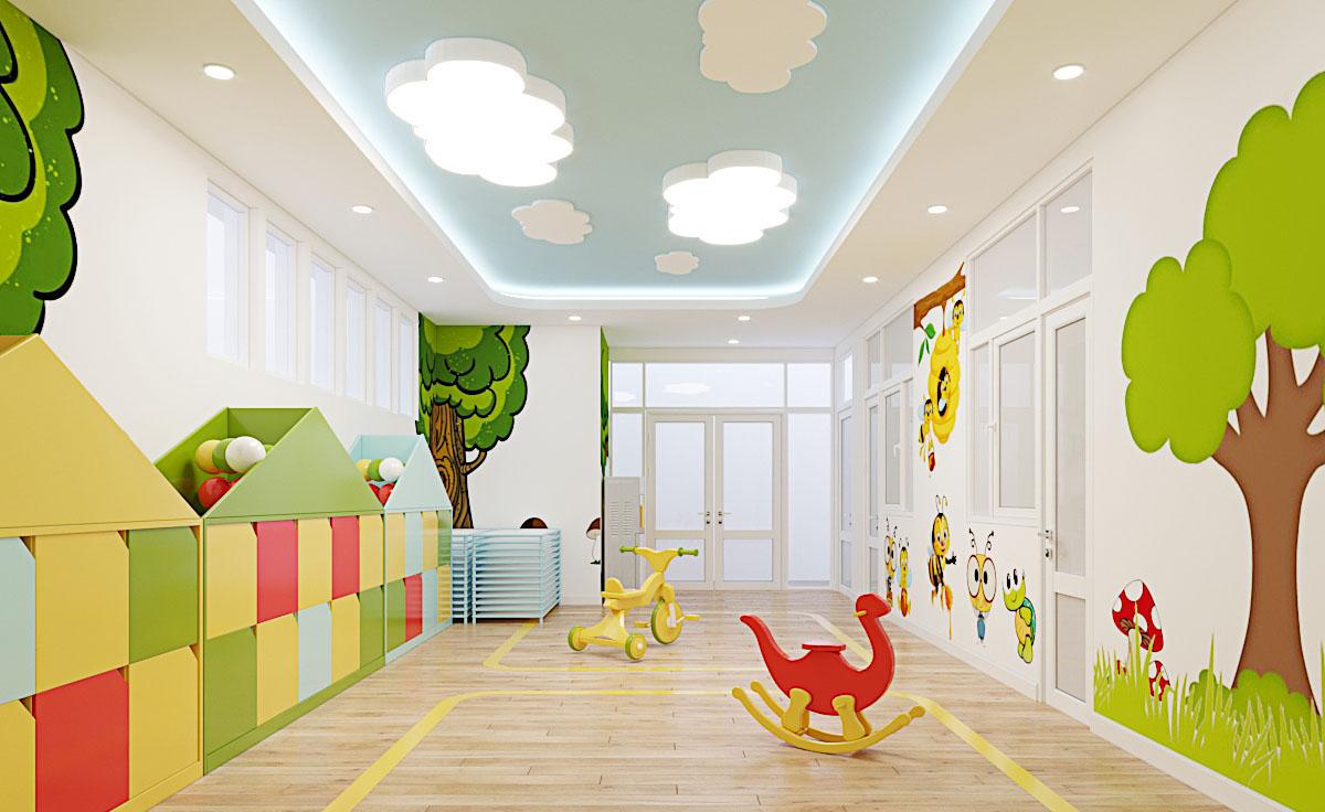 Thiết kế nội thất trường mầm non thần đồng 2 – Đồng Xoài Bình Phước